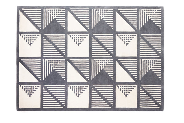 Gridwork two-tone wool rug