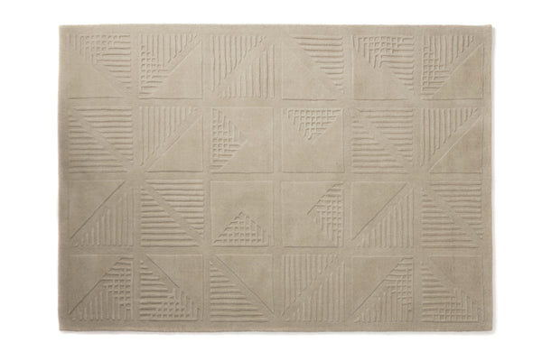 Gridwork cream 3D wool rug