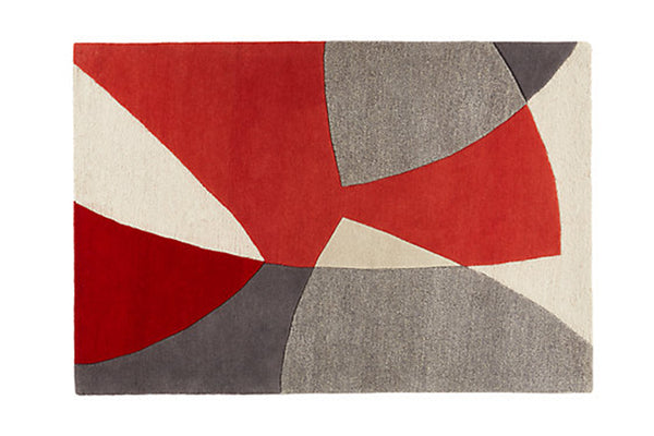 Scatter wool rug in red