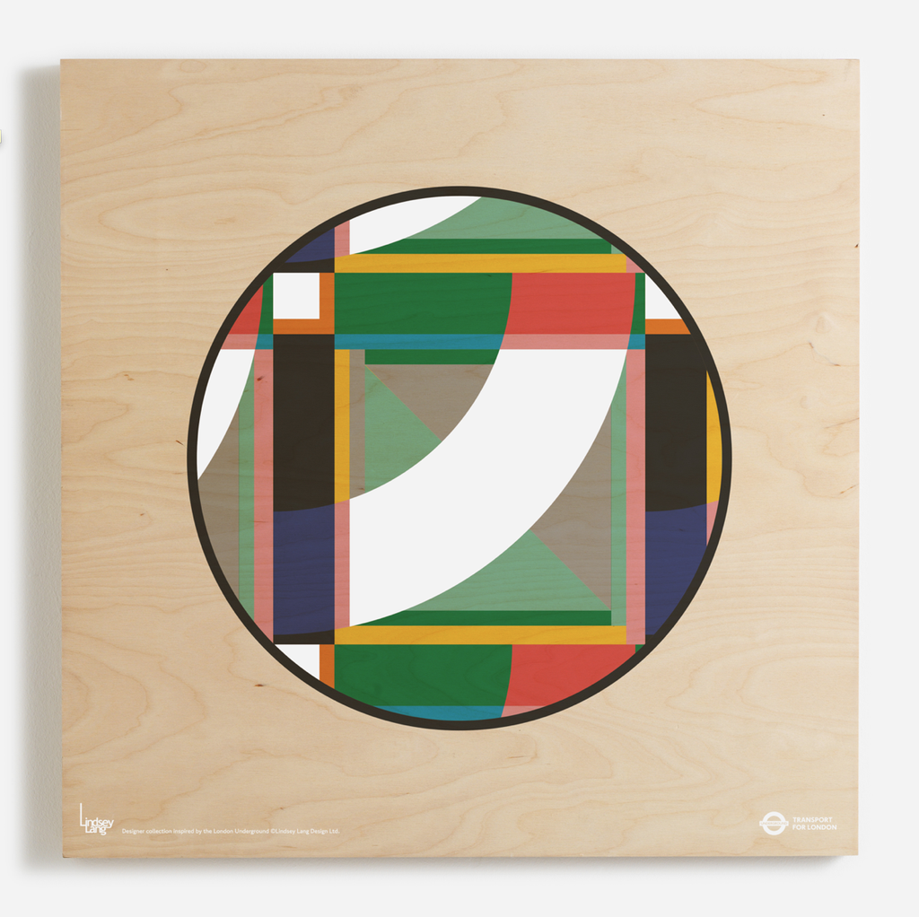 'London Roundel' print on birch ply