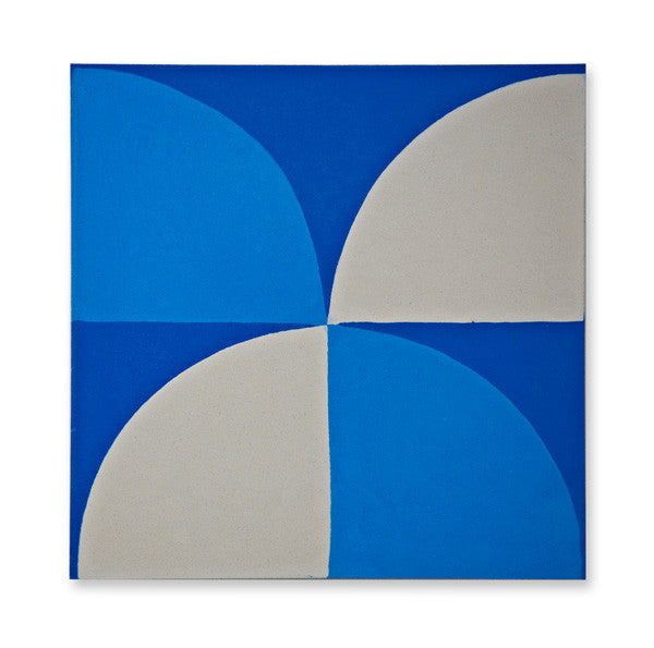 'Scallop' Electric Blue - Encaustic Tile (sample) as seen in Elle Decoration