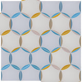 'Hex' blue yellow and grey pattern