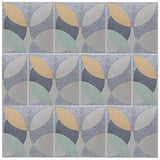 'leaf' pale yellow/mint granito pattern