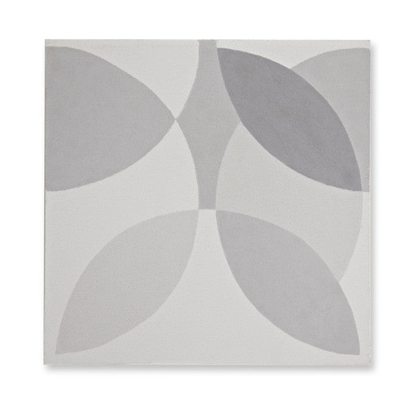 'Leaf' light grey encaustic