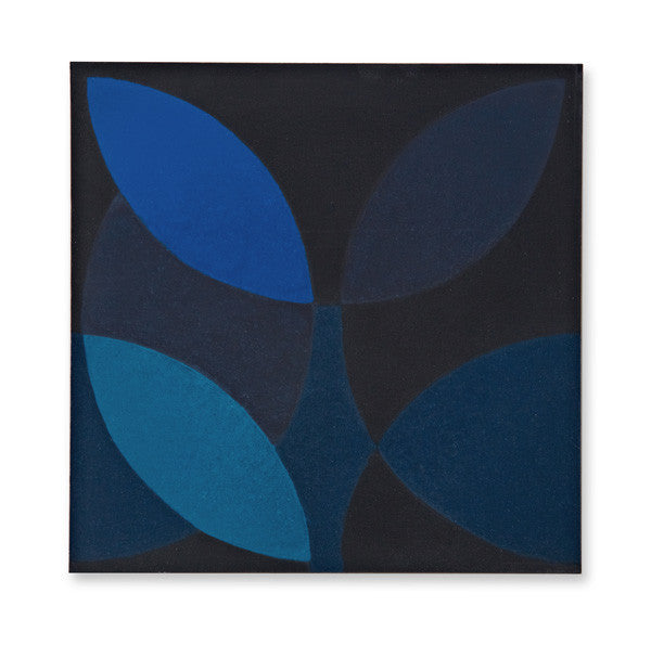 'Leaf' midnight blue encaustic