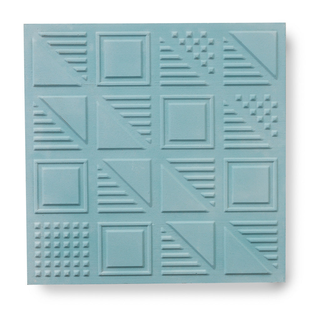 London Chevron - 3D cement in teal (sample)