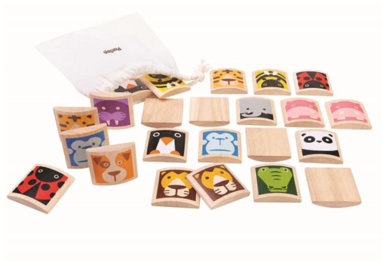 Plan Toys - Ekologiskt Djur memory i trä , Organic Wooden Animal Memory card Game