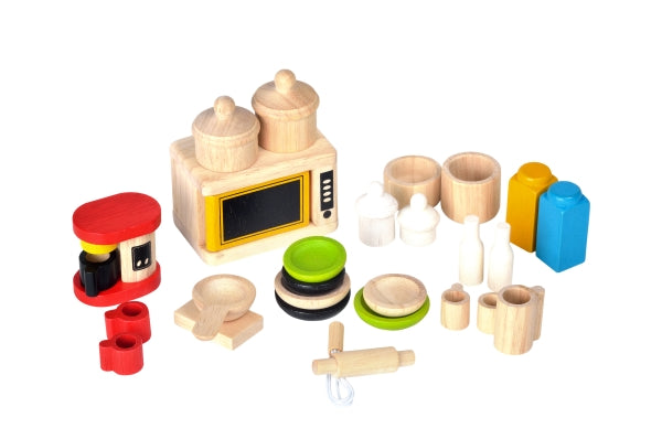 Plan Toys-Ekologiska, dockhusmöbler, kökstillbehör, Accessories for kitchen and tableware