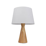 Contemporary White Table Lamp with Wooden Holder - The Lighting Club - Perth - Lighting