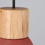 Concrete Pendant with Timber in Red - The Lighting Club - Perth - Lighting