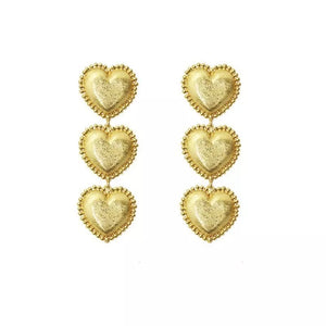 3 gold heart earrings