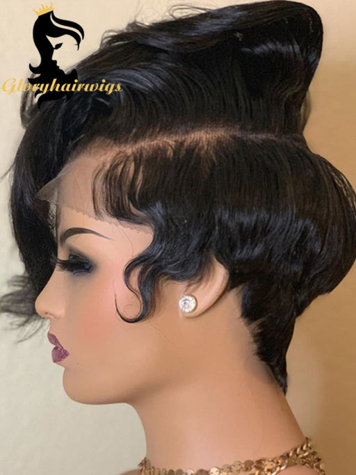 Wonderful customized style   Pixie lace front wig virgin human hair transparent lace wigs - gloryhairwigs