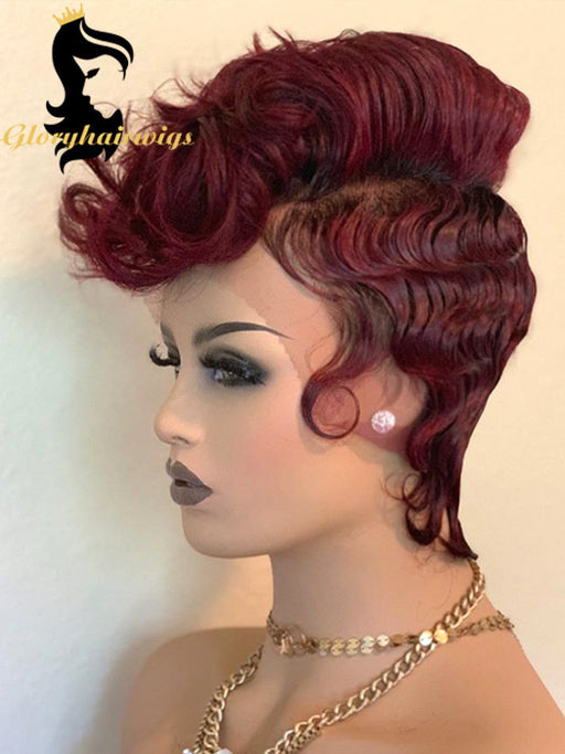 99J color Gloryhairwigs curly Pixie lace front wig virgin human hair transparent lace wigs - gloryhairwigs