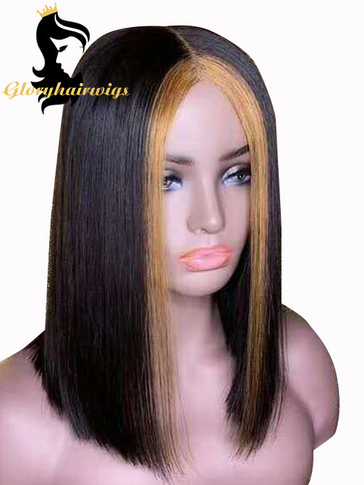 Adorable summer bob 1B/27 Mix  Short Straight Bob Lace Wig 13X6deep parting Lace Wig With Pre-plucked - gloryhairwigs