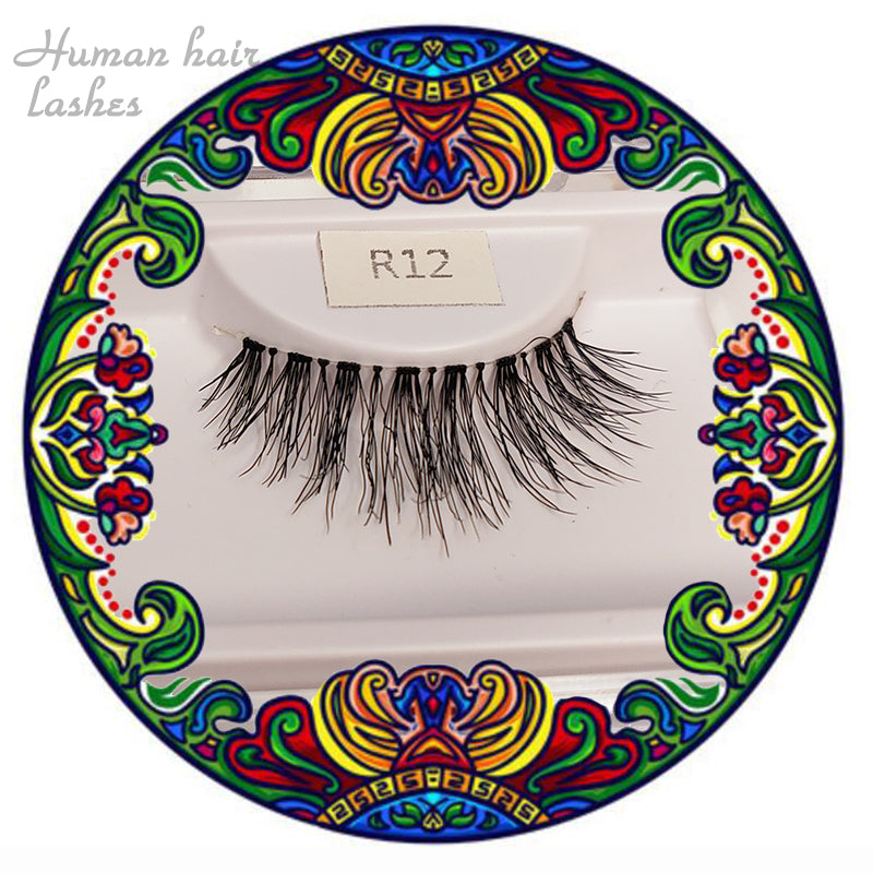 R12  Human hair Lashes stirips  Hand-made False Lashes with luxury box and luxury glue lashes 1pair - gloryhairwigs