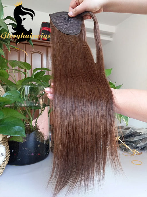 Human hair ponytail straight ponytail natural hair ponytail in Gloryhairwigs