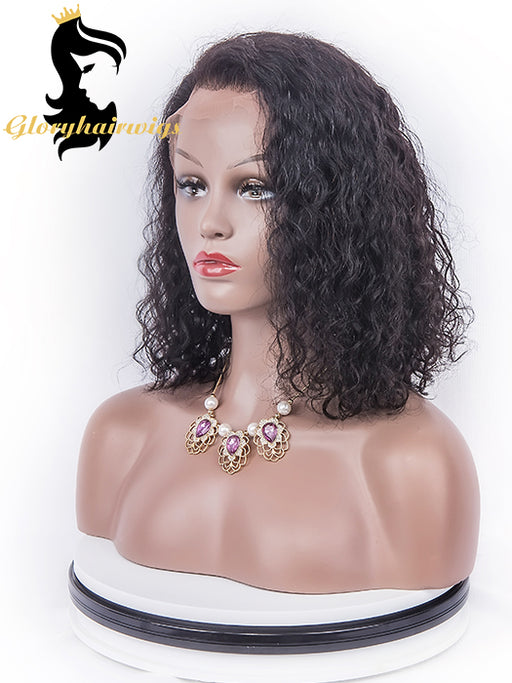 Brazilian curly 4inch Lace Front Human Hair Wigs - gloryhairwigs