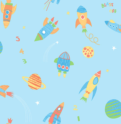 Blast Off Turquoise Outer Space Wallpaper
