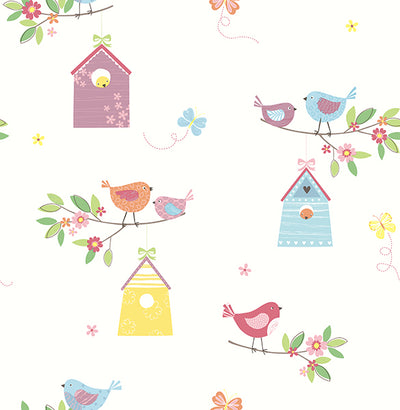 Birdhouses White Birds Wallpaper