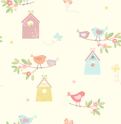 Birdhouses Turquoise Birds Wallpaper