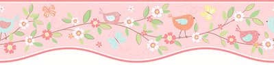 Bird House Salmon Border Wallpaper