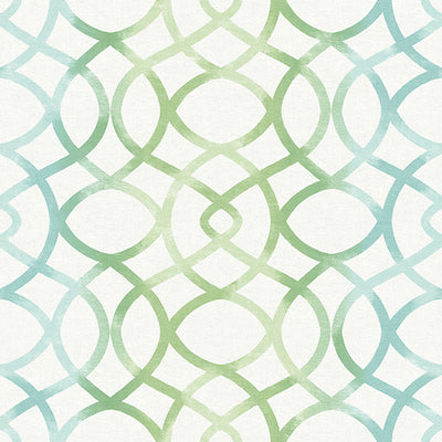 Twister Aquamarine Trellis Wallpaper Wallpaper