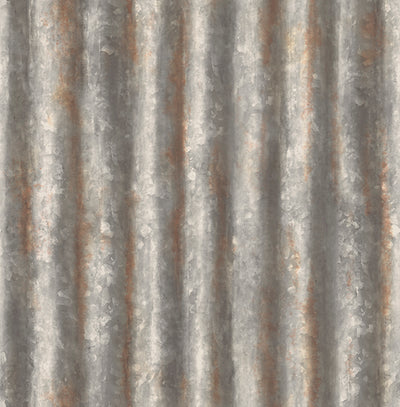 Corrugated Metal Charcoal Industrial Texture Wallpaper Wallpaper