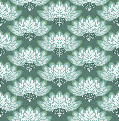 Lotus Grey Floral Fans Wallpaper Wallpaper