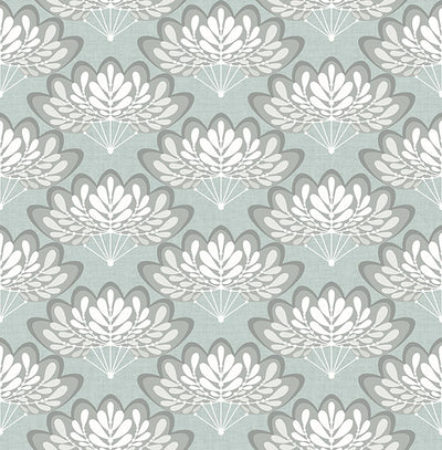 Lotus Light Blue Floral Fans Wallpaper Wallpaper