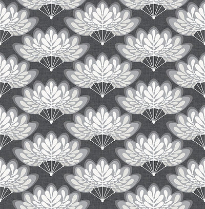 Lotus Charcoal Floral Fans Wallpaper Wallpaper