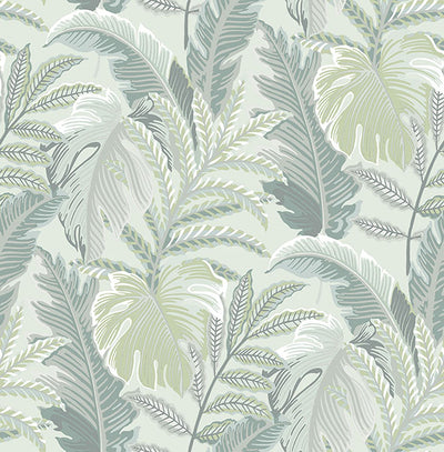 Verdant Grey Botanical Wallpaper Wallpaper