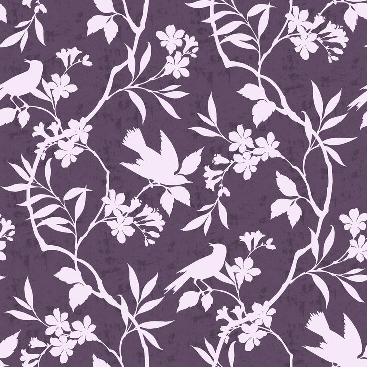 Birds In Trees - Plum Wallpaper