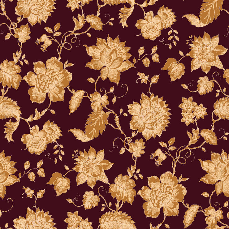 Floral Toile - Bordeaux Wallpaper
