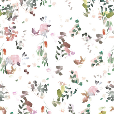 Blur - Blush and Moss with Orange Wallpaper