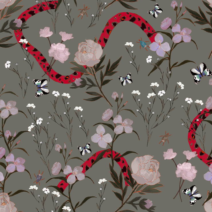 Flower and Serpent - Grey Wallpaper