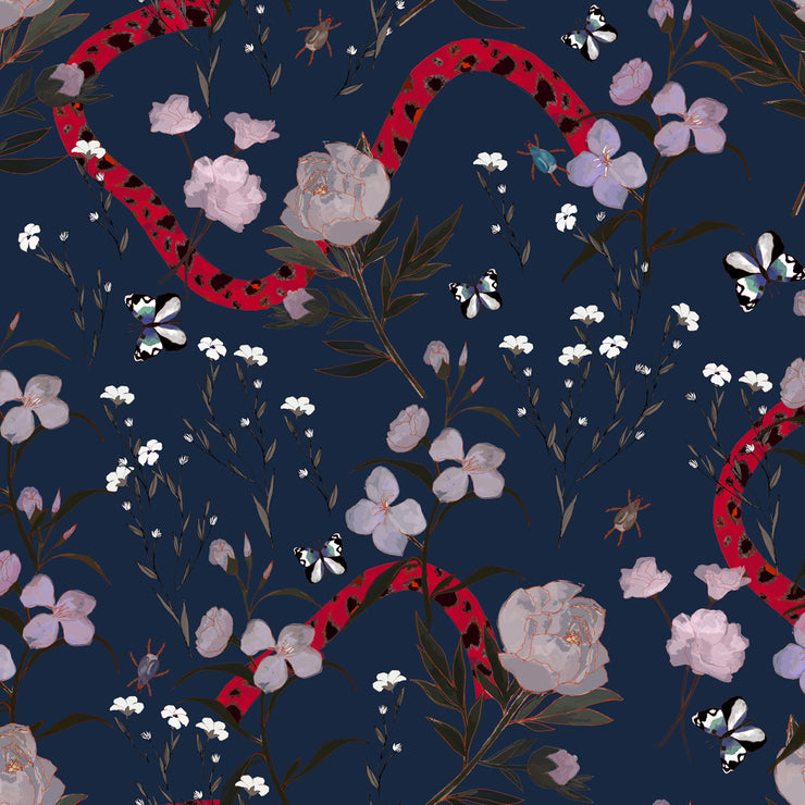 Flower and Serpent - Navy Wallpaper