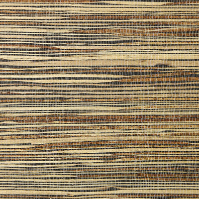 Brown and Blonde Grasscloth Wallpaper