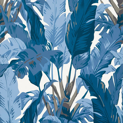 Travelers Palm - Navy and White Wallpaper