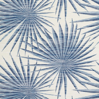 Palm Frond - Navy and White Wallpaper