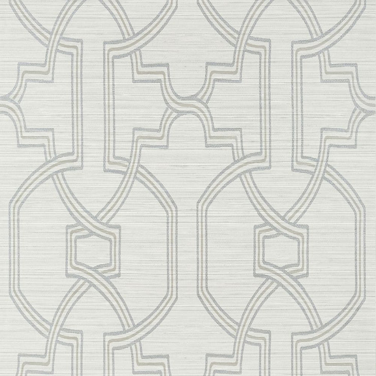 Promenade - Grey on Metallic Silver Wallpaper
