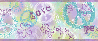 Janis Purple Peace Love Toss Border Wallpaper