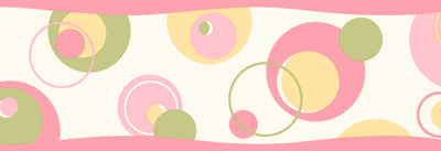 Wobbles Pink Geometric Toss Border Wallpaper