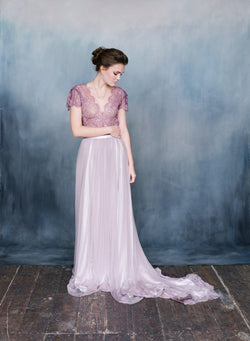 Women wearing long silk tulle purple wedding dress