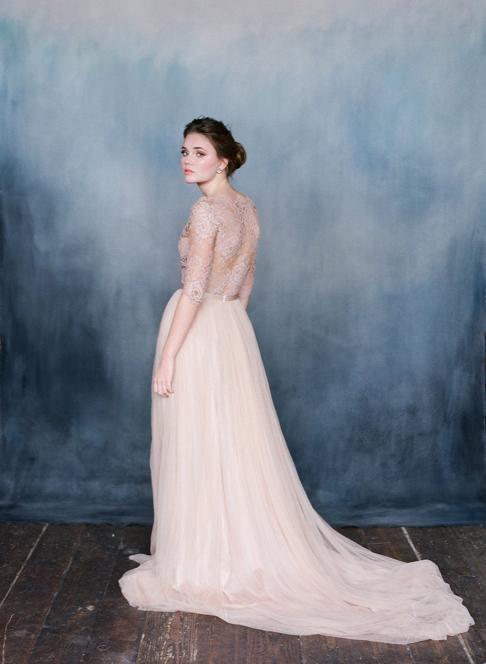 Long pink silk tulle wedding dress with pink lace top with sleeves