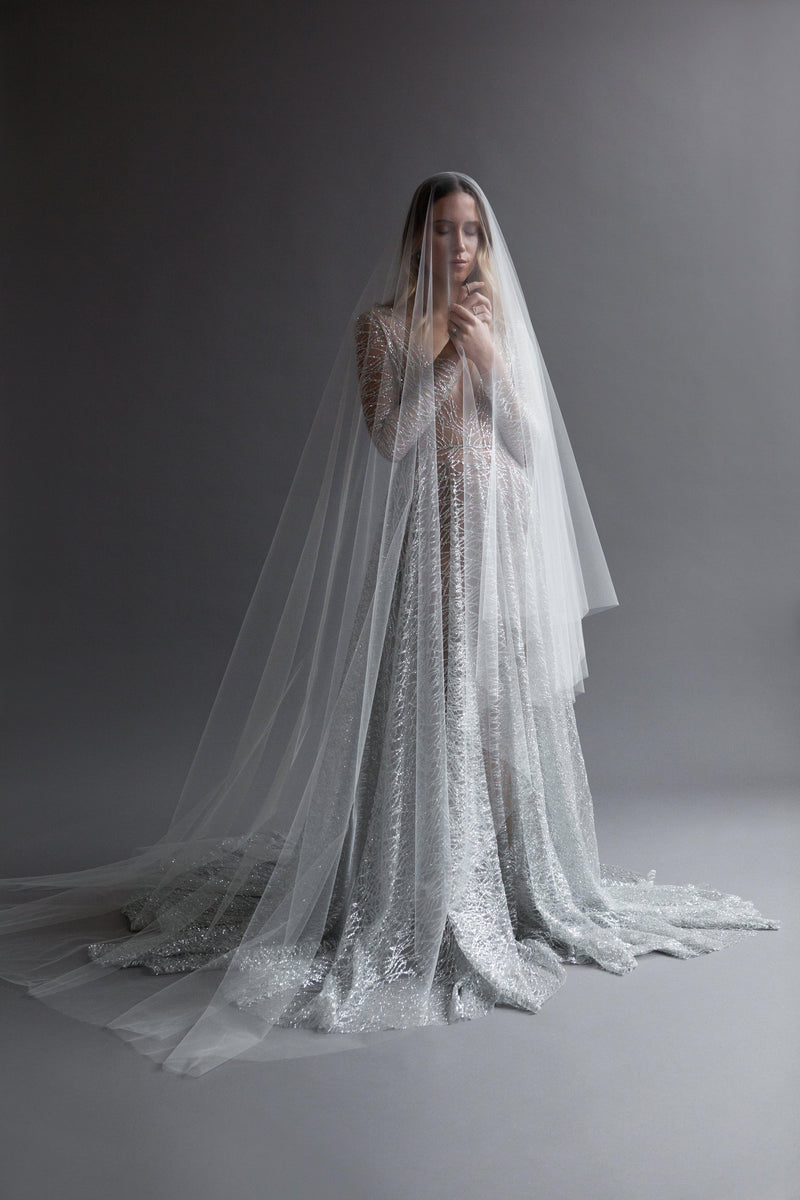 Women wearing a sheer tulle veil in cathedral length in gray sparkle dress