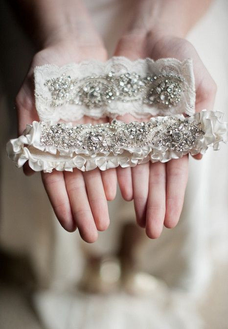 Crystal garters on lace and satin