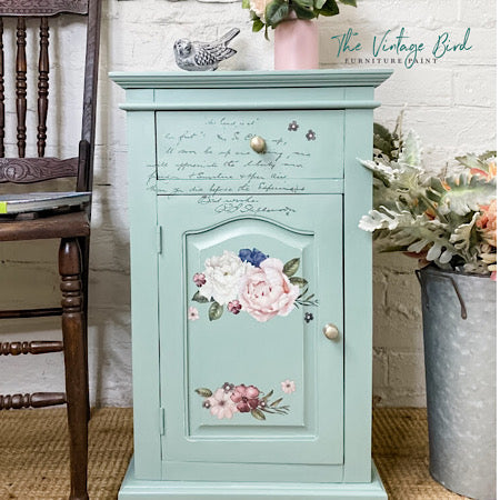 Sweet Sage Bedside with Redesgn Transfer Bird on the HIll Designs