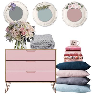 Modern-Romantic-Mood-Board-with-Vintage-Bird-Furniture-Paint