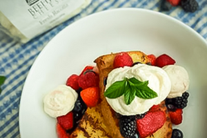 Grilled Brown Butter Pound Cake, Whipped Ricotta Cream
