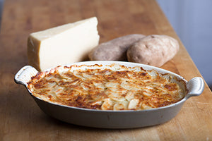 Potato Leek Gratin with Apple Walnut Smoked